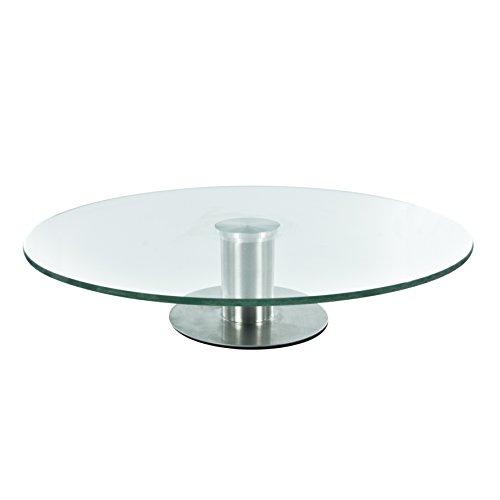 Lily cook KA1742 - Bandeja redonda giratoria con pie (acero inoxidable, cristal y metal) transparente y gris, 30 x 30 x 7 cm