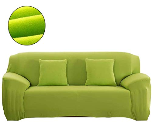 Hoes, all-inclusive elastische bankbeschermer verwijderbaar, pure kleur pluche sofa kussenbeschermer beschermer (groen),235/300cm