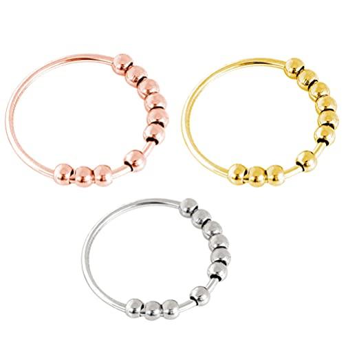 Lurrose Anel redutor de depressão de 3 peças, anel delicado com contas de aço inoxidável e anel de contas (tamanho 11)