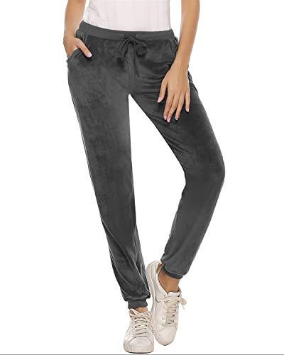 Abollria Damen Hausanzug Velours Trainingsanzug mit Samtoptik Kapuzejacke mit Reißverschluss Hose mit Kordelzug und Taschen, Grau(nur Hose), XS