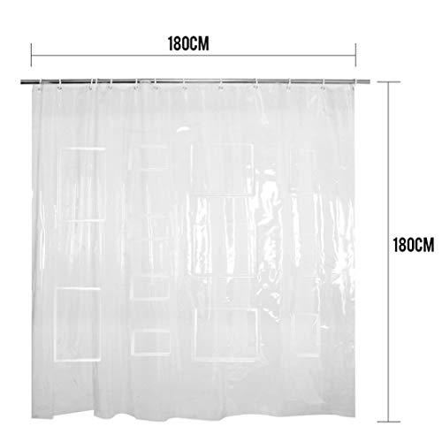 INSEET Multifunktionaler Handy-Duschvorhang Tablet-Halter Transparenter Duschvorhang mit Tasche für Badezimmerdusche 180 * 180 cm