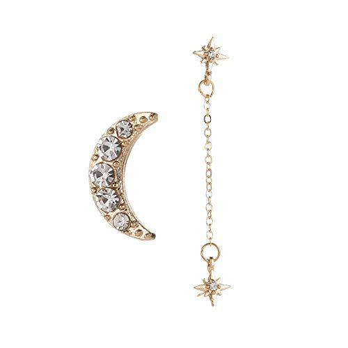 YZYZ Bonitos y bonitos pendientes de estrella hueca de diamante con doble estrella con pendientes de luna.