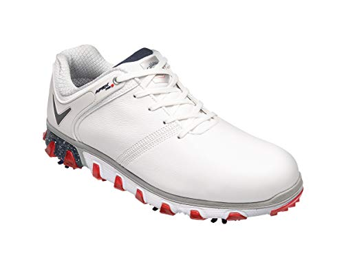 Callaway Apex PRO S Waterproof, Scarpe da Golf Uomo, Bianco (White/Red White/Red), 47 EU