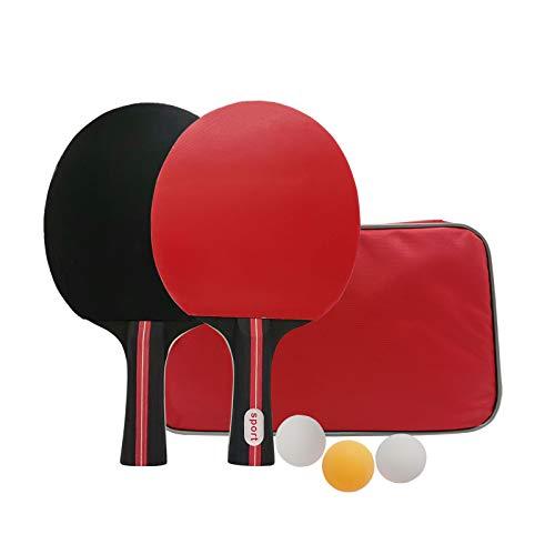 iMeshbean - Juego de raquetas de ping pong de mesa, 2 raquetas de ping pong y 3 pelotas de tenis de mesa, ideal para deportes de interior y exterior