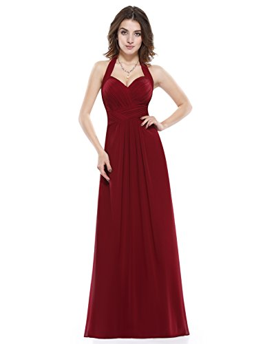 Ever-Pretty Hálter Vestido Largo de Fiesta Noche para Mujer de Ceremonia Boda Borgoña 42