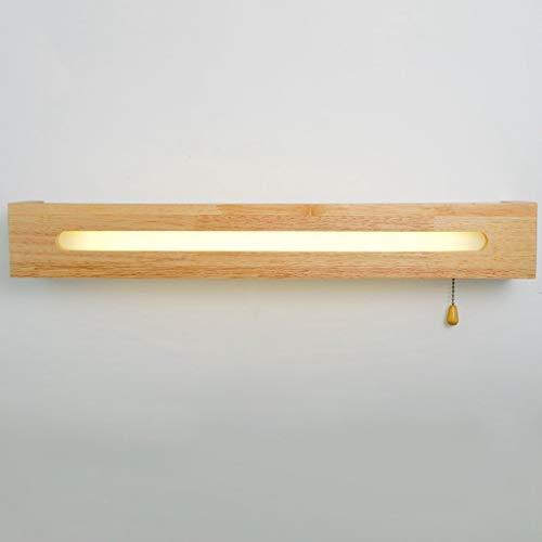 Espejo de baño Simple Luz Frontal, baño Espejo de Madera Maciza Faros Delanteros Dormitorio Mesita de Noche Interruptor de Cable LED Lámpara de Pared Luces de baño (Color: luz Blanca, tamaño: 55 cm)