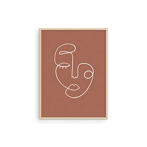 Haus and Hues Woman Drawing Line Art Wall Decor - Female Figure Wall Art | Silhouette Drawings Artwork Line Drawing Wall Art Minimalist Wall Decor | 12'x16' UNFRAMED (Clay Abstract Face)