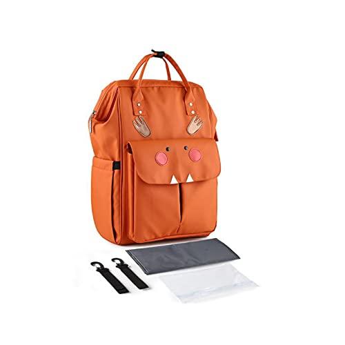 Pañal de maternidad para mamá de gran capacidad, mochila de viaje para bebé, con cambiador de correas para cochecito, bolsa húmeda J60D, color Naranja, talla Talla única