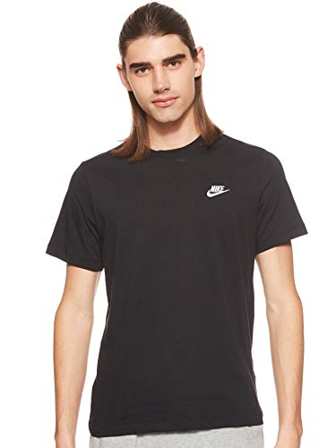 Nike Herren Sportswear Club T-Shirt, Black/White, L