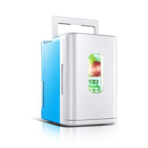 YICHEN Mini Nevera 10 litros Mini Refrigerador Nevera Portátil para Alimentos, Bebidas, Cuidado De La Piel, Uso En El Hogar, Oficina, Dormitorio, Automóvil, Barco,Blue+White