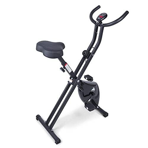 EVOLAND Bicicleta Estática Plegable, Ahorra Espacio Bicicleta Estática de Fitness Multinivel de Resistencia Magnética para Ejercicio Entrenamiento en Casa, MAX hasta 120 kg(Negro-Sencillo)