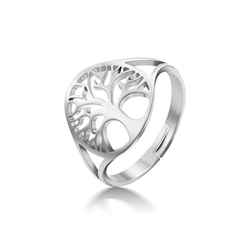 VASSAGO Stainless Steel High Polished Tree of Life Rings Hollow Out Design Round Signet Adjustable Open Bands Christmas Wedding Anniversary Jewelry for Men and Women Size 8 (Silver)