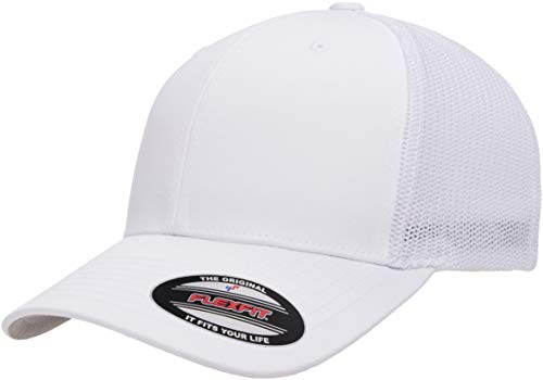Flexfit unisex adult Trucker Mesh Fitted Cap, White, One Size US
