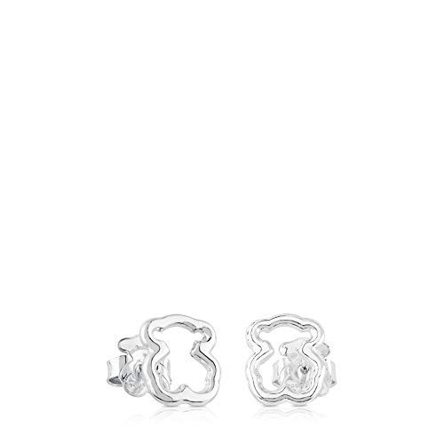 TOUS New Carousel - Earrings with Push Back Closure, in Sterling Silver - Measure of The Bear Contour: 1,15 cm