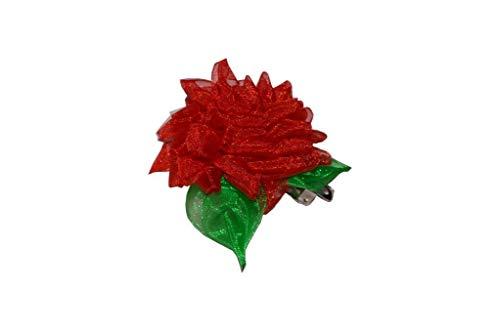 [Anmalip-Handmade] Clips cheveux chrysanthème-accessoire à la main-RED
