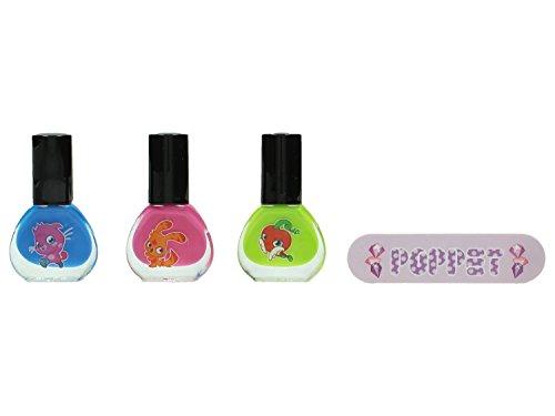 Moshi Monster Nail Art Set - nagellak blauw 5 ml, nagellak roze 5 ml, nagellak groen 5 ml, nagelvijl, nagelstickers, per stuk (1 x 0.135 kg)