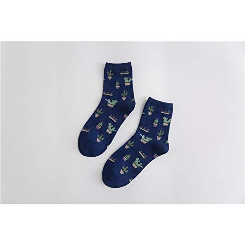 WLQXDD Spezielle Geschenksocken Baumwolle Frauen Bequeme Socken Lustige Pflanze Kaktus Muster Mädchen Weiche Baumwolle Socke Lässig Warme Kurze Frauen Socke