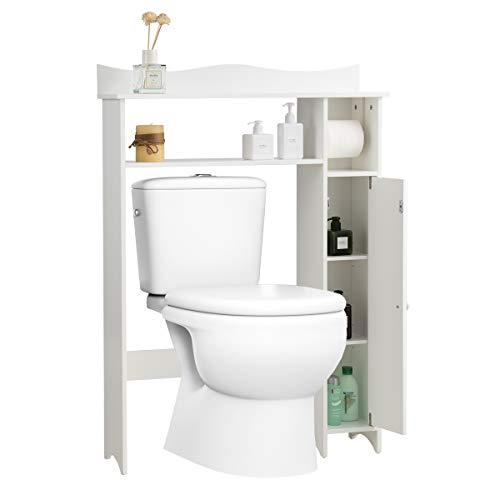 GOPLUS Toilettenschrank mit Toilettenpapierhalter, Waschmaschinenschrank mit Ablagen & Tür, Badschrank mit Verstellbaren Regalböden, aus Holz, im Landhausstil, für Toilette Waschmaschine, Weiß