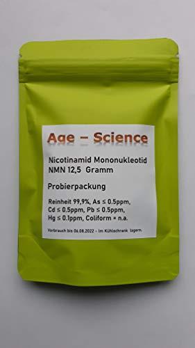 NMN | Nicotinamid Mononukleotid | 12,5 Gramm pures sublinguales NMN Pulver | Ultra-rein 99,9% in Deutschland getestet & zertifiziert | Nad+ Booster | Probierpackung | von Age-Science
