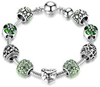 Women Arm Bracelet Bangle DIY Glass Beads Love Jewelry Ladies Pandora Elements Charm Bracelets.