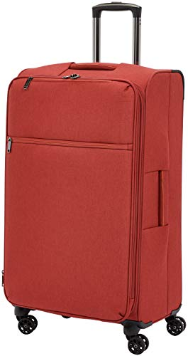 AmazonBasics Belltown Softside Rolling Spinner Suitcase Luggage - 31 Inch, Heather Red