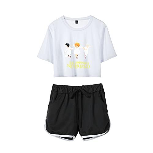 Anime The Promised Neverland 3D Impresión Emma Norman Ray Cosplay Hipster Street Wear Conjunto De Camiseta Y Pantalones Cortos para Mujeres Y Niñas,Blanco,X~Large