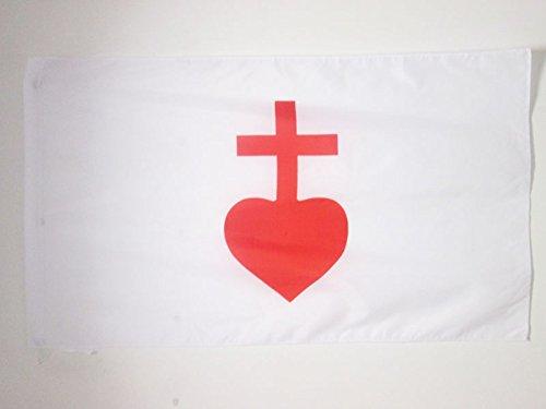 AZ FLAG Flagge HEILIGSTES Herz JESU 90x60cm - KATHOLISCHEN Fahne 60 x 90 cm Scheide für Mast - flaggen Top Qualität