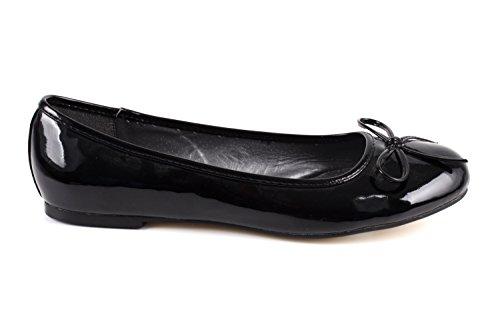 Flache Ballerinas für Damen und Junge Frauen mit flachem Blockabsatz und dekorativer Schleife - Loafer - TG104 – Große Auswahl an Farben und Ausführungen-Lack Schwarz-41 EU