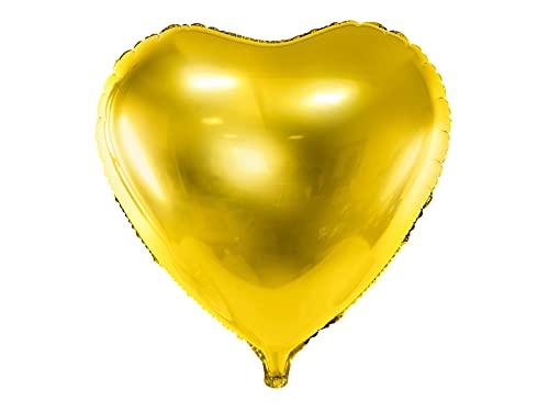 Partydeco - Globo Mylar Foil con Forma de corazón Dorado Metalizado, diámetro 61 cm, Dorado