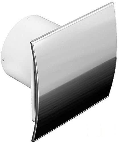 Ø 100 mm Design Badventilator Edelstahl gebogen mit Feuchtigkeitssensor Hygrostat sowie Timer Nachlauf und Rückstauklappe WEI100H Lüfter Ventilator Front Wandlüfter Badlüfter Ventilator Einbaulüfter Bad Küche leise 10 cm