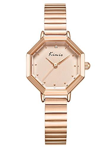 Alienwork Reloj Mujer Oro Rosa Pulsera de Metal Acero Strass Elegante Pequeña