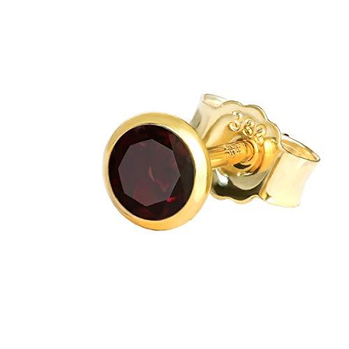 NKlaus Einzel Ohrstecker echt Granat rot Gelbgold 333 8 Karat Gold 4,0mm klein Ohrring 7998