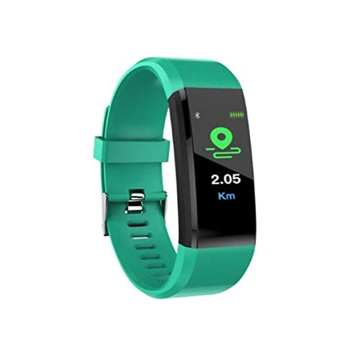 XXY Smart Band Fitness Bracelet Tracker Step Counter Smartband Reloj Monitoreo De La Frecuencia Cardíaca Pulsera PK ID107 FIT bit (Color : Green)