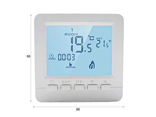 LEDLUX LL0250 Termostato Digitale Con Tasti Programmabile Per Caldaia A Gas Murale Da Parete Alimentato Con 2 Pile AA