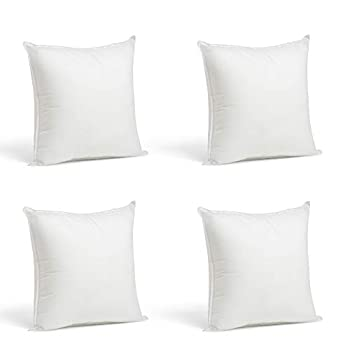 Foamily Throw Pillows Set of 4-12 x 12 Premium Hypoallergenic Pillow Inserts for Couch or Bed Decorative Bedding - Made in USA