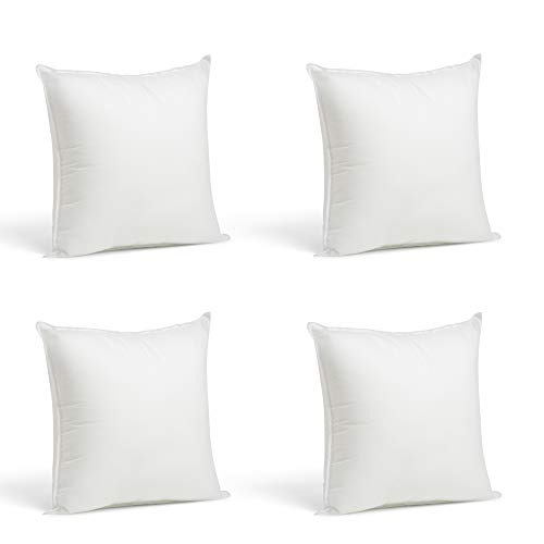 Foamily Throw Pillows Insert Set of 4-12 x 12 Insert for Decorative Pillow Covers - Made in USA - Bed and Couch Pillows