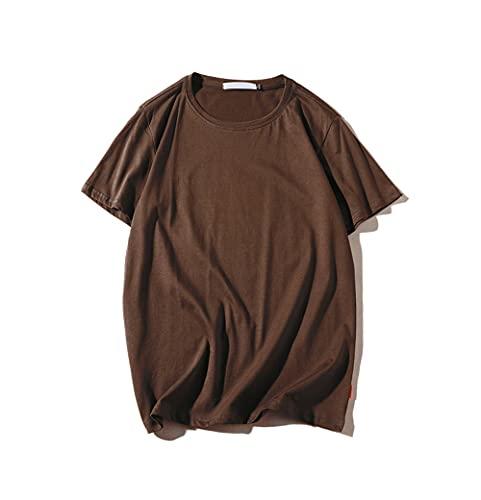 Camiseta Hombres Shirt Deportiva Holgada Y Cómoda Verano Hombre Color Sólido Transpirable Cuello Redondo Elasticidad Manga Corta Hombre Viajes Al Aire Libre Ropa Calle Hombre G-Brown L