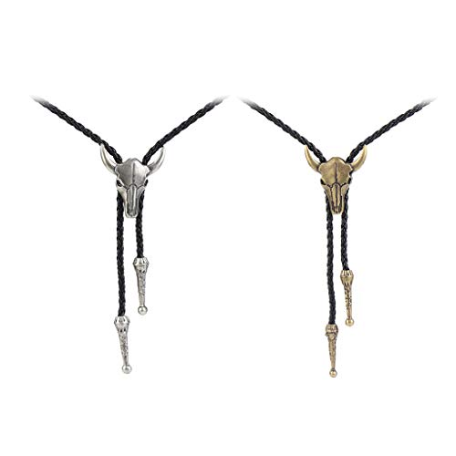 Baoblaze 2pcs Collar Colgante Bolo Tie Rodeo Corbata Cordón de Cuero PU