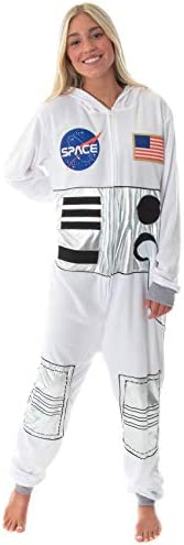 MJC Unisex NASA Space Suit Be an Astronaut Fleece Union Suit Costume Pajamas White product image