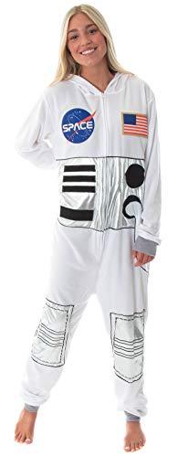 MJC Unisex NASA Space Suit Be an Astronaut Fleece Union Suit Costume Pajamas White
