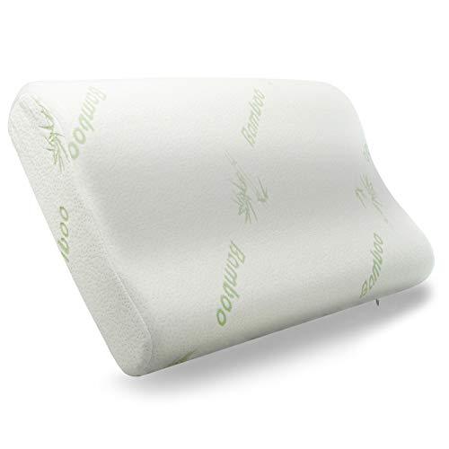 Cuscino Cervicale Memory Foam Guanciale Letto Ortopedico Antipolvere Antiacaro Gel Ergonomico Traspirante per Dolori al Collo Cervicali Federa Bamboo Rimovibile Lavabile 60x40cm