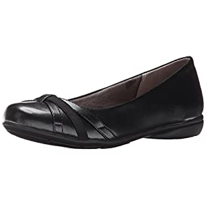 LifeStride Women's Abigail Ballet Flat, Black, 10 Wide