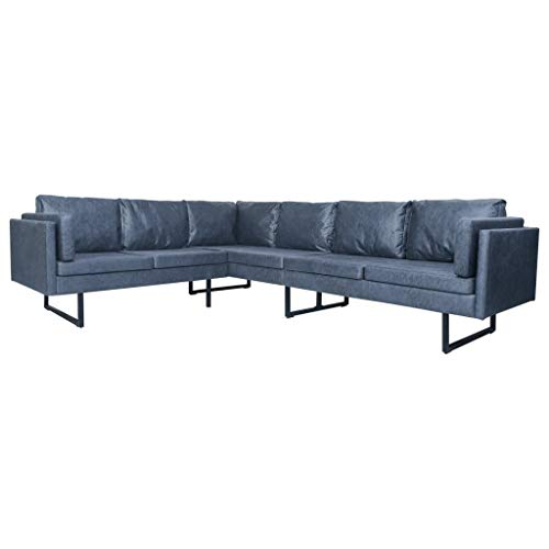 vidaXL Ecksofa Wohnlandschaft Couch Eckcouch Sofa Polstersofa Wohnzimmersofa Loungesofa Sofagarnitur Designersofa Grau Wildleder-Optik