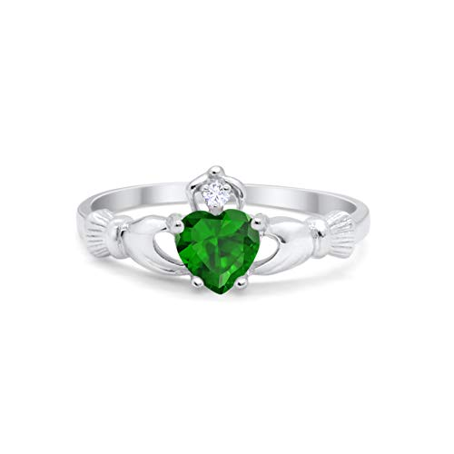 Blue Apple Co. Irish Claddagh Heart Promise Ring Simulated Green Emerald Round CZ 925 Sterling Silver, Size-6