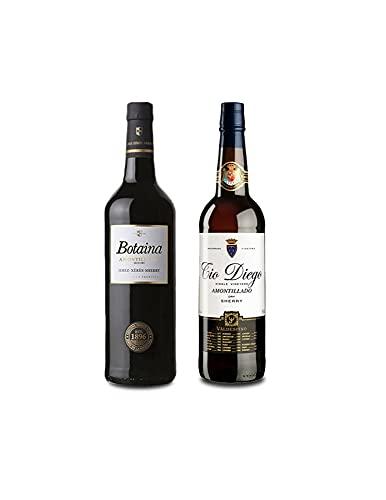 Vino Amontillado Botaina de 75 cl y Vino Amontillado Tio Diego de 75 cl - Mezclanza Exclusiva