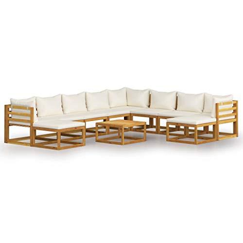 vidaXL Madera Maciza de Acacia Muebles de Jardín 11 Piezas Cojines Mobiliario Hogar Exterior Terraza Sofá Mesa Asiento Suave con Respaldo Crema