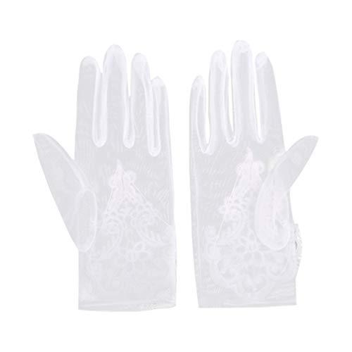 PRETYZOOM Hochzeitshandschuhe Weiße Spitze Kurze Handschuhe Brautkleid Handschuhe Hochzeitsfeier Prom Bankett Anziehzubehör für Frauen Damen