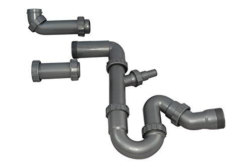 Ruimtebesparende sifon/multifunctionele sifon Mizzo/buissifon 1 1/2 inch voor keukenspoelbak, vaatwasser en wasmachine. Aansluiting horizontaal of verticaal.