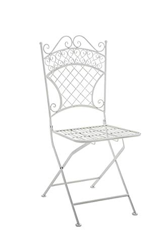 CLP Chaise de Jardin Pliante Adelar - Chaise de Balcon en Fer Forgé - Meuble de Terrasse et pour Usage Extérieur - Hauteur Assise 47 cm - Couleur Blanc