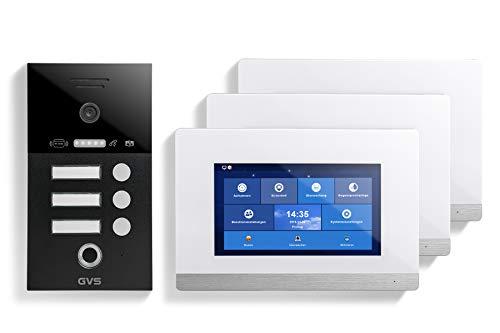 GVS IP Video Türsprechanlage, Unterputz-Türstation IP65 mit RFID und Fingerprint, 3X 7 Zoll Monitor, App, HD-Kamera 150°, Türöffner-Fkt, 32GB Speicher, PoE-Switch, 3 Familienhaus Set, AVS4486U